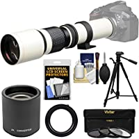 Vivitar 500mm f/8.0 Telephoto Lens (T Mount) (White) with 2x Teleconverter (=1000mm) + Tripod + 3 Filters Kit for Sony A-Mount SLT-A57, A58, A65, A77, A99 DSLR Cameras