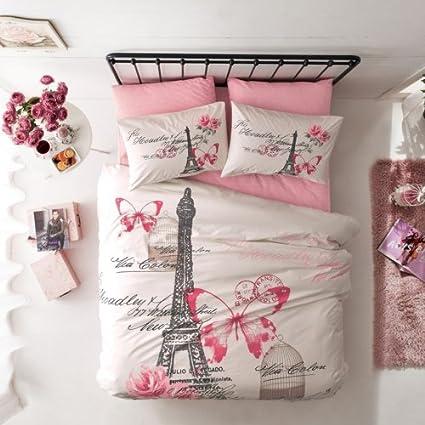 Amazon Com Paris And Eiffel Tower Bedding Set Queen Size Home