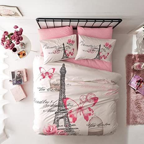 Amazon.com: Paris and Eiffel Tower, Bedding Set, Queen Size: Home ... : eiffel tower quilt cover single - Adamdwight.com