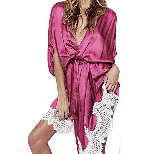 (ZHENBAO Sexy Lingerie Women Silk Lace Robe Dress Babydoll Nightdress Nightgown Sleepwear Hot Pink)