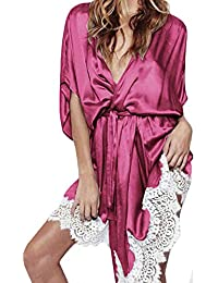 59bc9bed684f Women Sexy V Neck Pajamas Lingerie Silk Lace Robe Dress Babydoll Nightdress Nightgown  Sleepwear