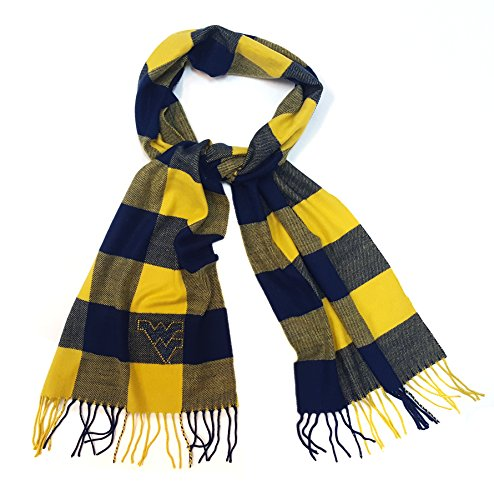 West Virginia Fringed - NCAA West Virginia Mountaineers Adult Women Buffalo Check Soft Fringe Scarf with Rhinestone Flying WV,One Size,Navy/Gold
