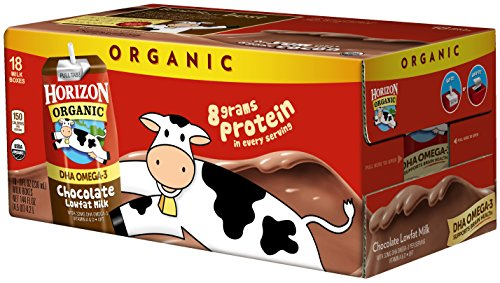 Horizon Organic, Lowfat Organic Milk Box With DHA Omega-3, Chocolate, 8  Fl. Oz (Pack of 18), Single Serve, Shelf Stable Organic Chocolate Flavored Lowfat Milk, Great for School Lunch Boxes, Snacks by Horizon Organic (Image #2)