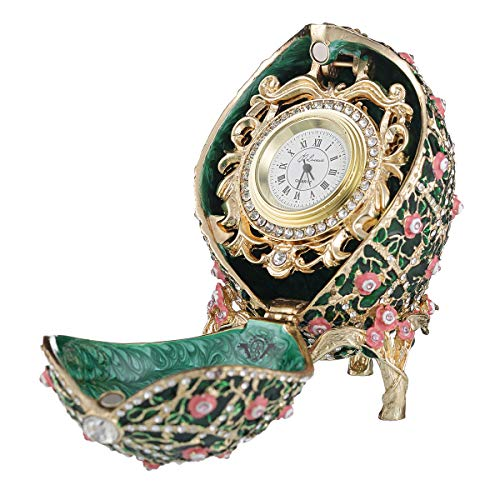 danila-souvenirs Russian Faberge Style Rose Trellis Egg/Trinket Jewel Box with Clock 3.8'' Green