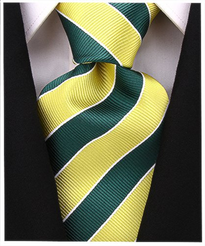 College Striped Ties for Men - Woven Necktie - Green w/Yellow