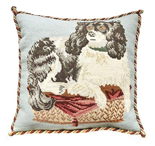 King Charles Cavalier Needlepoint Tapestry Kit with pale blue background from Elizabeth Bradley premium English needlework pillow or rug project with 100% wool yarns. Victorian Animals Collection