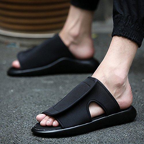 fankou La Gente Perezosa Sandalias Marea Macho Salvaje Personalidad Estudiante Ocio Sandalias Verano Zapatos Marea Playa Transpirable Todo negro (A)