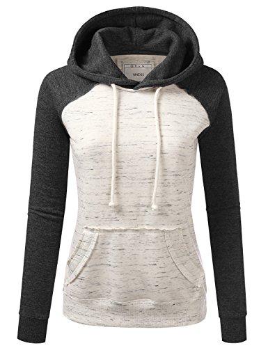 NINEXIS Womens Long Sleeve Marled Oatmeal Raglan Pullover Hoodie Sweatshirt MELANGEBLACK L