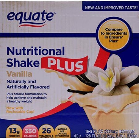 Equate vanilla nutritional shake plus, 8 Oz, 16 ct