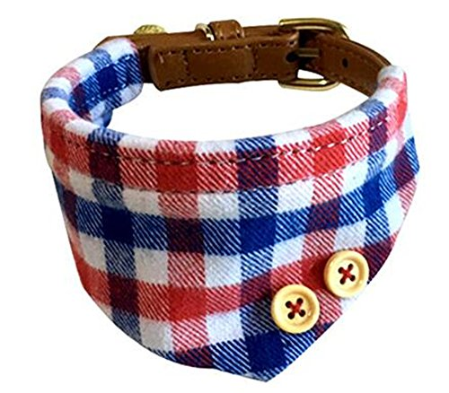 HOOTMALL Dog Bandana-Adjustable Small Dog Collars Cute Plaid Red Bandana Dog Collar with Bell Charm (blue)