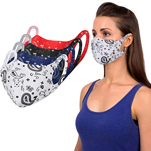 Shohotop 4 Pcs Washable_Face_Masks with Elastic Earloop for Adult,Face Mouth Hygiene Protection Pads for Children,High Filtration and Ventilation Security