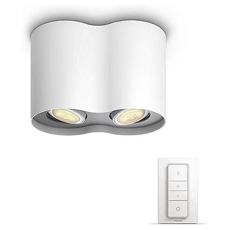Philips Hue White Ambiance Pillar Led Aufbaustrahler 2er Spot Inkl Fernbedienung Weiss Innen Dimmbar 350 Lumen Lampe Deckenlampe Deckenspot