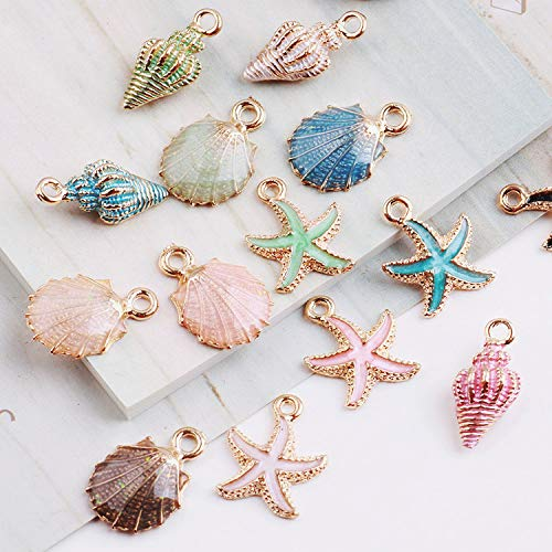 Autumn Water 10pcs Coloful Nautical Ocean Starfish Shell Conch Sea Enamel Charms DIY Bracelet Necklace Jewelry Accessory DIY Craft