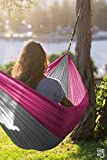 Hero Hammocks Nylon Parachute Travel Hammock for Camping, Traveling and Yard – 9 feet long x 4.5 feet wide (Pink/Gray)