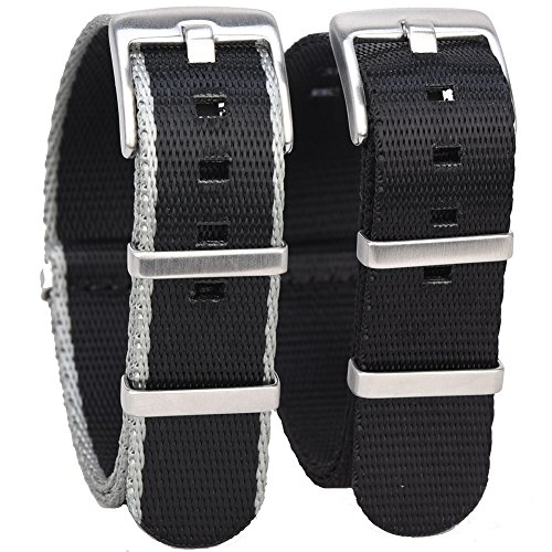 Randon Watch Bands NATO Strap Watch straps Premium Ballistic Nylon Strap with Heavy Duty Stainless Steel Buckle 2 Pack (20mm, Black/Black&Gray) - Gray Nylon Strap
