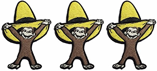 Curious George with Yellow Hat Iron On Patch Set of 3