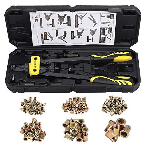 AUTOUTLET 14″ Hand Rivet Nut Gun Heavy Duty Rivet Gun Riveter Tool Kit Set with 6PCS Metric Mandrels 150PCS Rivet Nut M3 M4 M5 M6 M8 M10