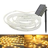 SUAVER LED Light Strip Outdoor, Waterproof Flexible LED Ribbon Solar Powered 16.4ft/5M SMD2835 100LED Mood Rope Lighting for Kitchen,Bedroom,Home decorative lighting,Party,Decoration Christmas (Warm white)