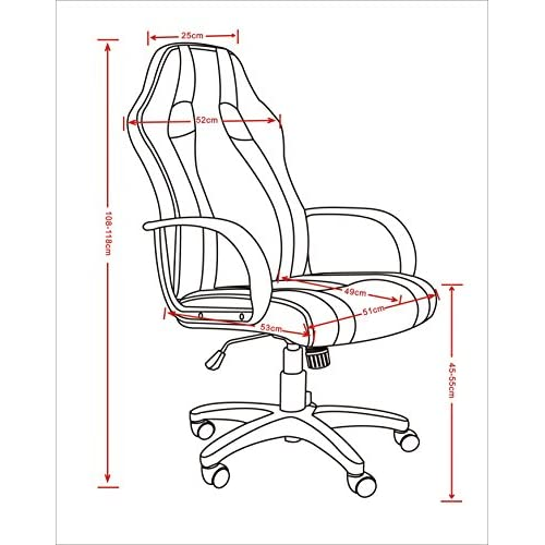 1home racing chaise de bureau