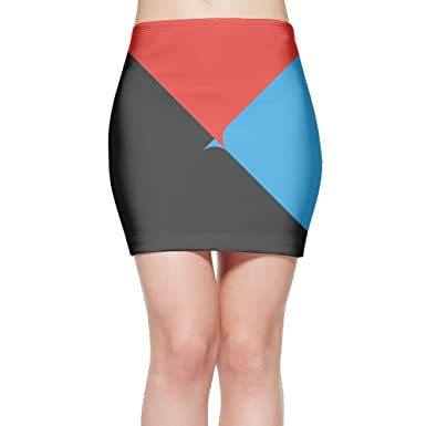 LULULUON Womens Tumblr Black Red Blue Triangle Splicing Bandage Tight Mini Skirt