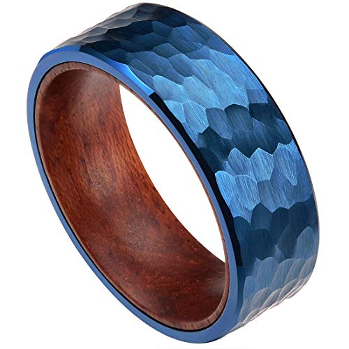 (DOUX 8mm Mens Tungsten Carbide Wedding Ring Blue Brushed Hammered Wood Inlaid Comfort Fit 9.5)
