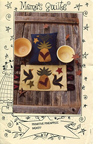 Meme's Quilt Designs Applique Pattern 277 Primitive Pineapples Penny Rug and Pillow