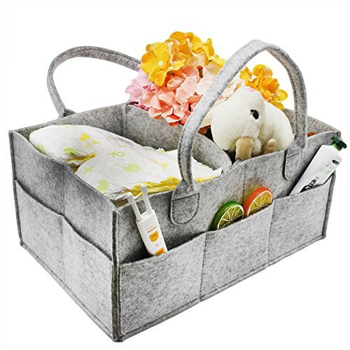 Baby Diaper Caddy Organizer - Newborn Nursery Storage Tote Carry On Travel Bag for Diapers, Wipes, Clothes, Food, Bottle, Blanket, Toy| Portable Car Storage Bin| Baby Shower Essential Gift for New Mom