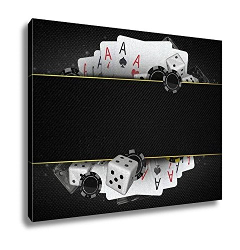 Ashley Canvas, Blackjack Dices And Chips, Wall Art Home Decor, Ready to Hang, 16x20, (C1 Blackjack)