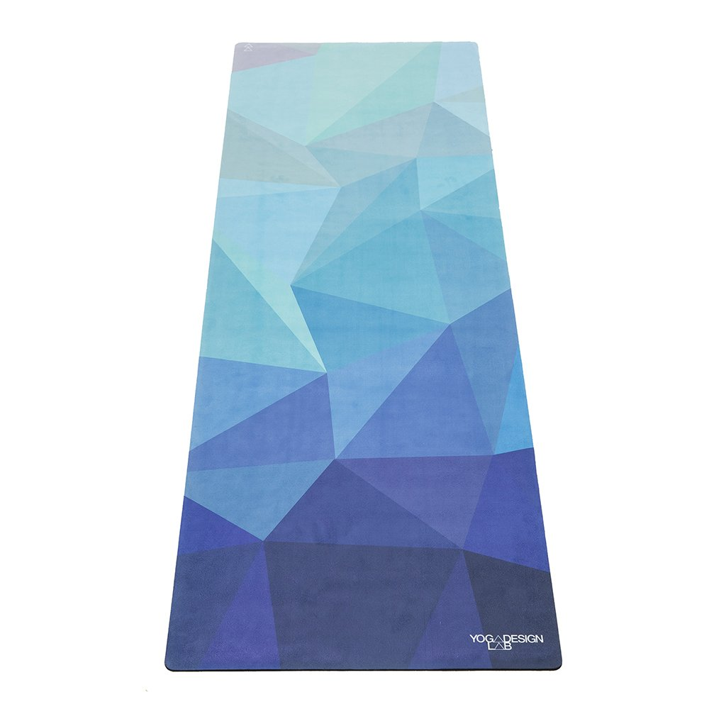 YOGA DESIGN LAB The Commuter Yoga MAT Lightweight, Foldable, Eco Luxury Mat/Towel | Ideal for Hot Yoga, Bikram, Pilates, Barre, Sweat | 1.5mm Thick | Includes Carrying Strap! (Geo Blue,)