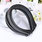 "Wispun 12 pcs Black Colored Metal Aliceband Hairband Base Headband Craft - 1/6"" (4mm)"