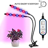 Dual Head Grow Light, AGM Timing Function Led Grow lamp for Indoor Plants, Red/Blue Spectrum,Adjustable 360 Degree Gooseneck for Hydroponics Greenhouse Garden