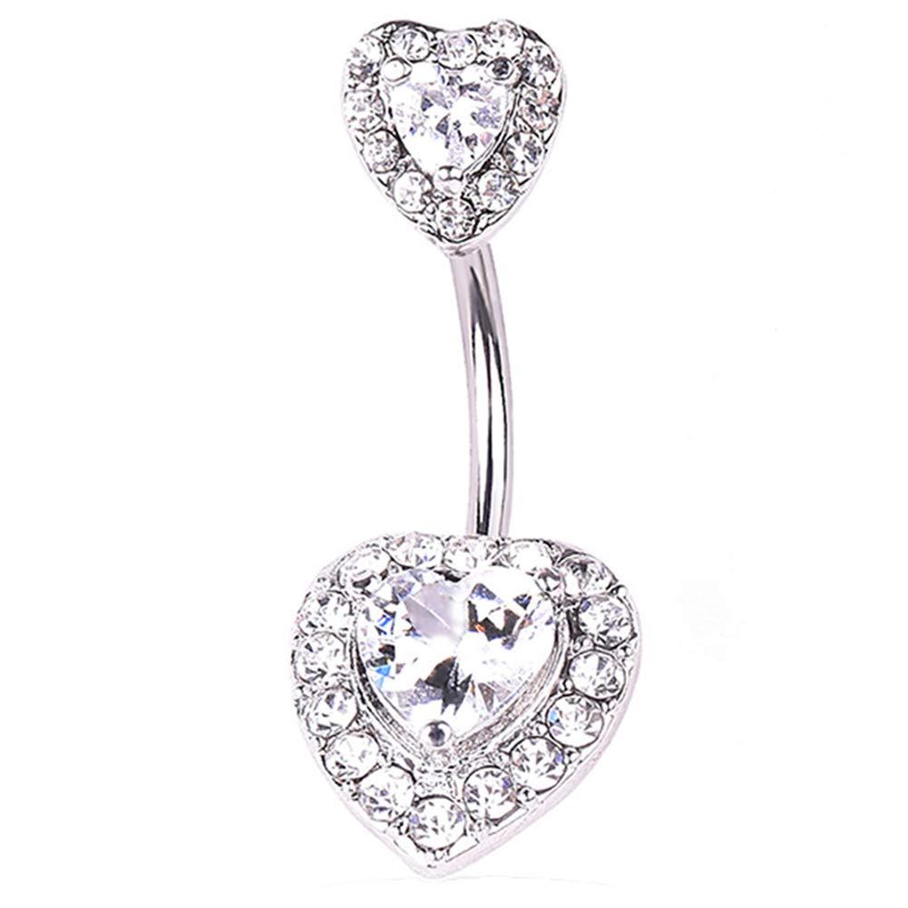 ink2055 1Pc Heart Shape Rhinestone Women Navel Bar Barbell Belly Button Ring Piercing Jewelry - Silver