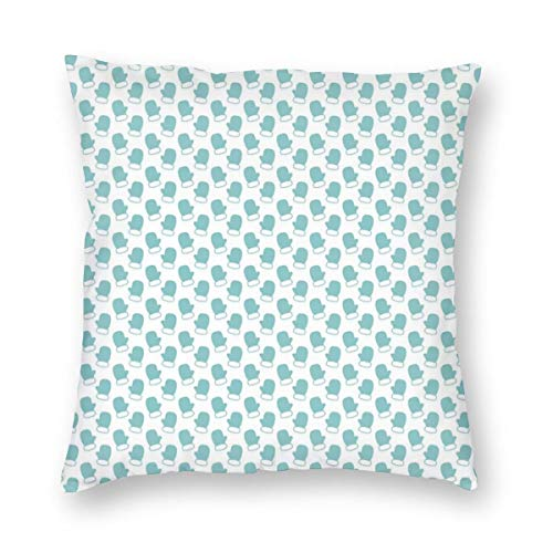 (K0k2to Turquoise Throw Pillow Cushion Cover,New Years Christmas Theme Winter Snow Gloves with Furry Borders Image,Decorative Square Accent Pillow Case)