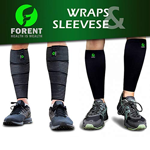 Forent Calf Compression Sleeve Socks and Leg Wraps (4 Pieces) Support Shin Splint Calf, Calve Guards for Men and Women - Braces Provide Healthy Circulation Pain Relief for Runner,Football,Gym