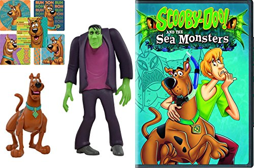 Scooby-Doo! and the Sea Monsters Cartoon Movie & Scooby Doo action Figures Twin Pack - Frightface Scooby and Frankenstein's Monster - DVD Sticker Bundle Vol. 1 Animated (Halloween Cartoons In French)