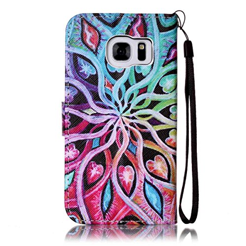Galaxy S7 Case,Firefish [Kickstand Feature][Drop Proof] Durable Leather Folio Style Wallet Case with Anti-scratch Protective Cover for Samsung Galaxy S7-Spread Flower
