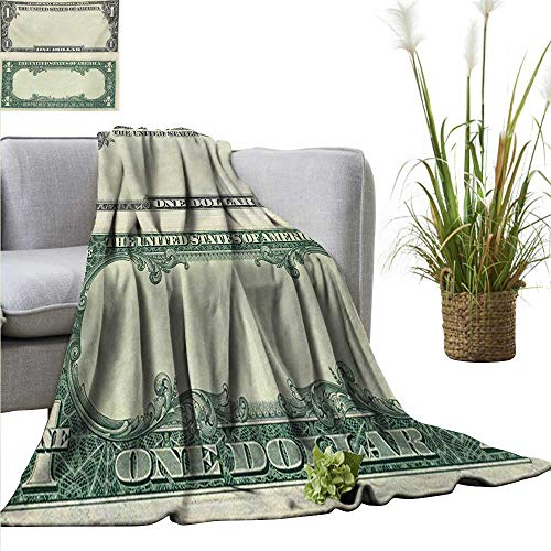 AndyTours Summer Blanket,Money,One Dollar Bill Buck Design American Federal Reserve Note Pattern Wealth Symbol,Pale Green Grey,Lightweight Breathable Flannel Fabric,Machine Washable 35