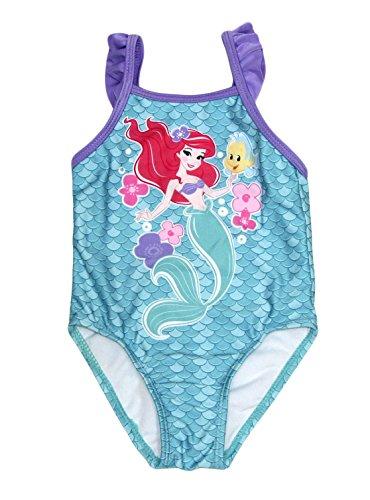 Disney Little Mermaid Princess Ariel 1 Piece Baby Girls Swimsuit (Flounder Flower, 18 Months) (Swimsuit Piece Disney One)