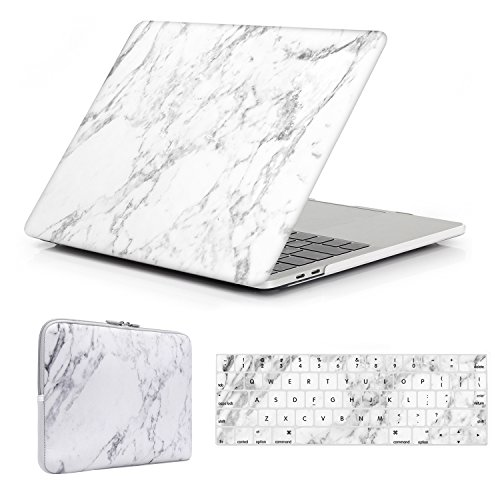 (iCasso 3 in 1 Bundle Rubber Coated Hard Shell Plastic Protective Case Cover + Sleeve Bag + Silicone Keyboard Cover for MacBook Pro 13'' Model A1706/A1708 W/Out Touch Bar -White Marble)