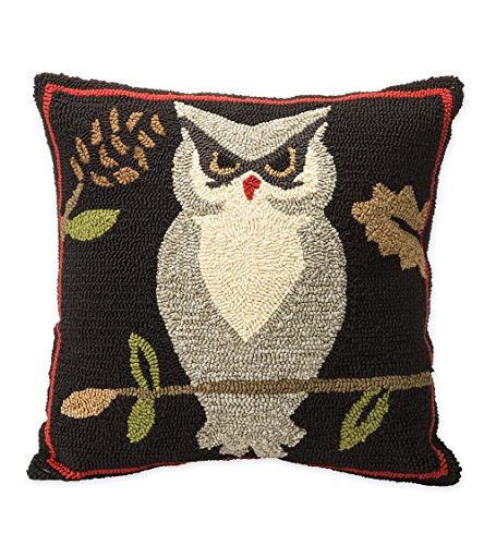 Indoor Outdoor Woodland Decorative Throw Pillow with Owl - 17.5 L x 17.5 W x 4.25 H (Pillows Plow Hearth Outdoor And)