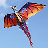Walmeck 140cm x 120cm / 55 x 47 Inch Dragon Kite Single Line Flying Kite with Tail 100m Flying Line for Kids Adults