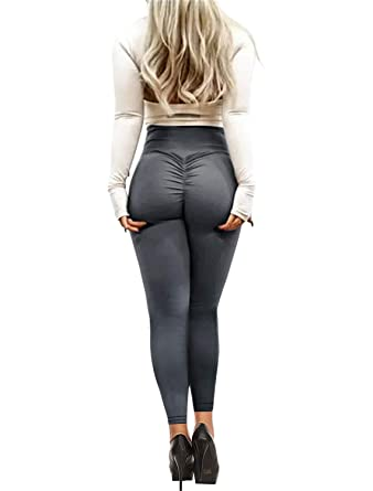 e82acc5bc92 Bbalizko Womens Sport Yoga Pants Stretchy Skinny High Waisted Solid Long  Workout Leggings Deep Gray
