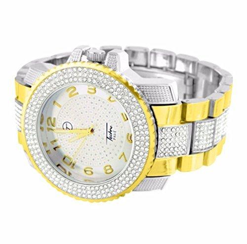 Lab Diamond Bling Watch For Men Sale White Gold Finish Aqua Master Jojo Jojino New ()