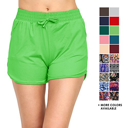 VIV Collection Printed Brushed Casual Summer Shorts (Apple Green, Small/Medium) ()