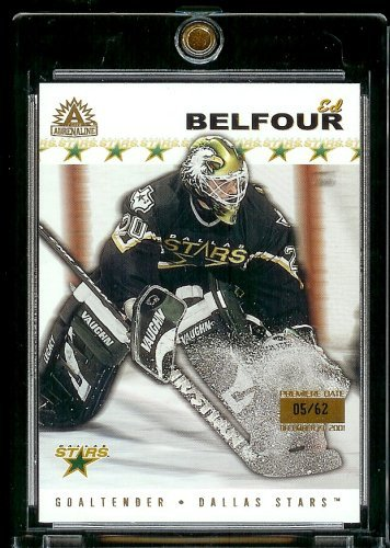 2001-02 Pacific Adrenaline Premiere Date Serial #5/62 Ed Belfour Dallas Stars Hockey Card - Mint Condition - Shipped In Protective ScrewDown Case!