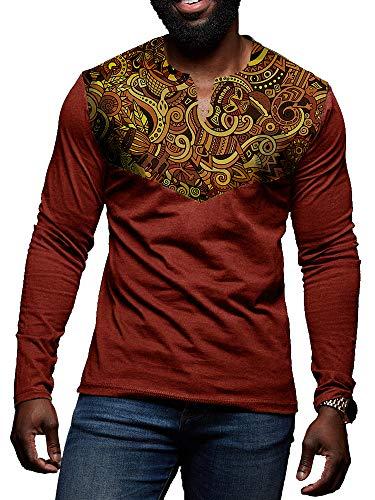 Traditional Mens Sweatshirt - Mens Tribal African Long Sleeve T Shirt V Neck Traditional Dashiki Floral Print Casual Sweatshirt Tops
