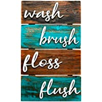 Farmhouse Bathroom Wall Decor - Brown And Teal -10x16 - Rustic Wash Brush Floss Flush Sign, Unique Hanging Wooden Signs, Vintage, Primitive Bathroom Wall Art