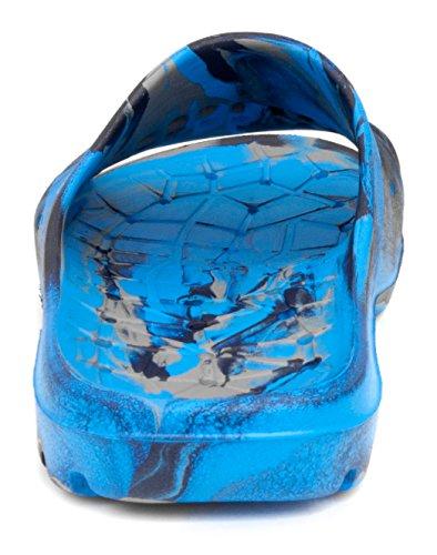 Aqua-Speed Badelatschen für Kinder - Schwimmbadschuhe - Anti-Rutsch-Sohle - Sehr Leicht - #As Patmos Blau/Schwarz