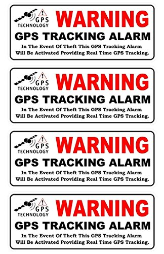 4 Pc Important Unique Warning GPS Tracking Alarm Technology In Event of Theft This Will be Activated Providing Real Time Front Adhesive Sticker Sign Cameras Security Video Surveillance Size 4.5x1.5