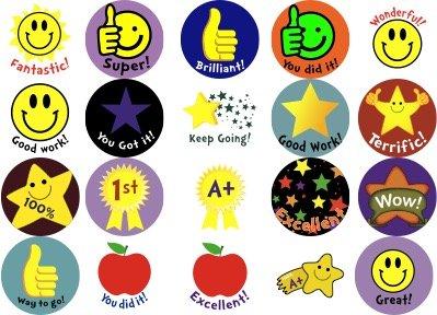 Noe & Malu Teacher Reward Stickers for Kids - Motivational Sticker for Classroom Children and Student Encouragement | 2,000 - 1 inch Round